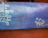 Purple Scalloped Chinese Symbol Hand Painted Denim Clutch