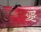 Love Joy Happiness Hand Painted Denim Clutch Bag