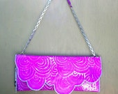 Fluorescent Pink Hand Painted Scallop Denim Clutch