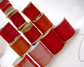 Thread - Red - Orange  - Vintage Wooden Spools