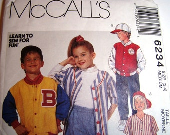 Pattern - McCalls  6234- Childrens' Jacket, Top, Shorts and Pants - size 3,4 - for Summer