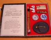 Chinese CALLIGRAPHY kit with brushes, ink, soapstone seals