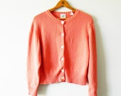 Button Up Cardigan in Bright Coral