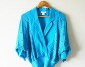 Cerulean Blue Vintage Dolman Sleeved Blouse