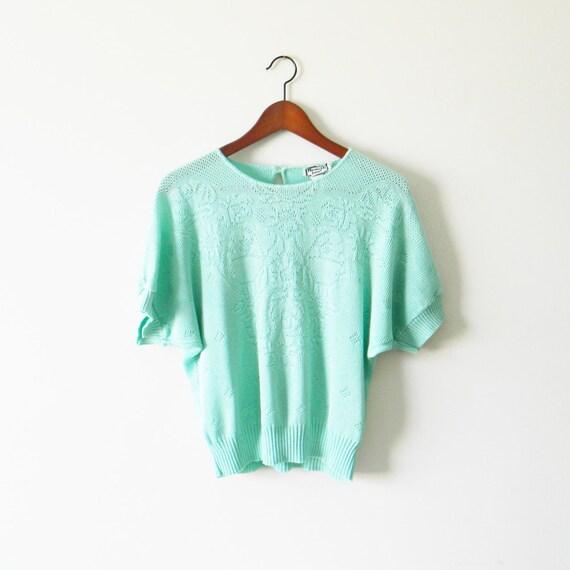 Mint Green Knit Vintage Top