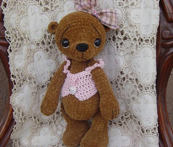 Artist teddy bear Thread crochet OOAK
