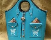Hndmade Leather Southwestern Style MARKET BAG In Tourquois