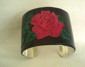 LEATHER RED ROSE Plain Cuff
