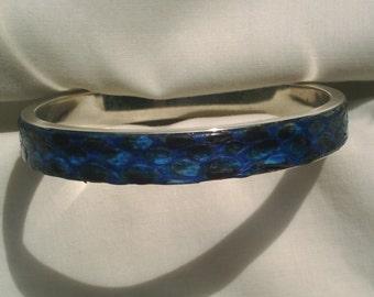 BLUE NATURAL PYTHON BANGLE BRACELET STERLING SILVER 10MM