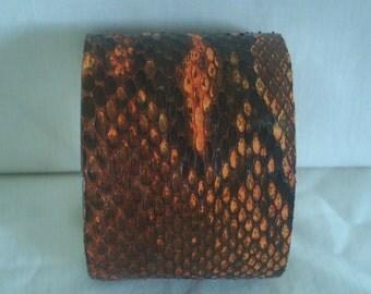 ORANGE BURMESE PYTHON Cuff Bracelet