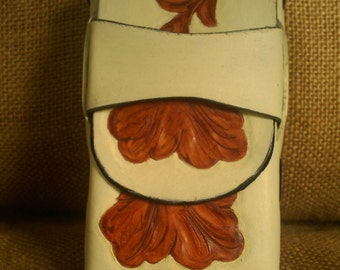 CIGARETTE CASE Handmade Leather in Cream and Antique Brown