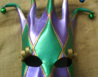 Handcrafted MARDI GRAS Leather MASK Court Jester