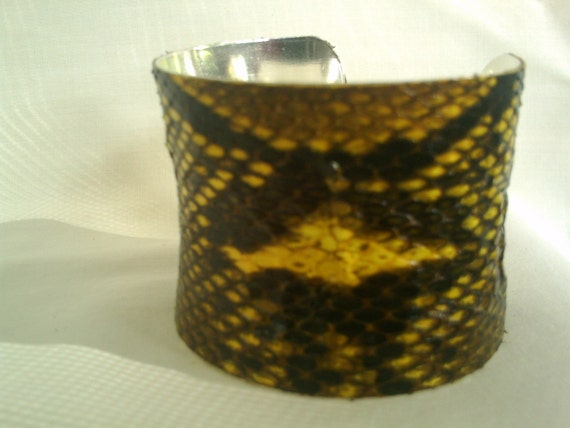 Handmade Natural Python in yellow concave cuff Sterling Silver