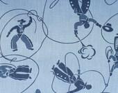 Tissu de l'Ouest, vintage, bleu, cowboys, FQ, coton