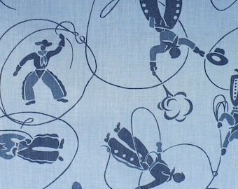 Western fabric, vintage, blue, cowboys, FQ, cotton