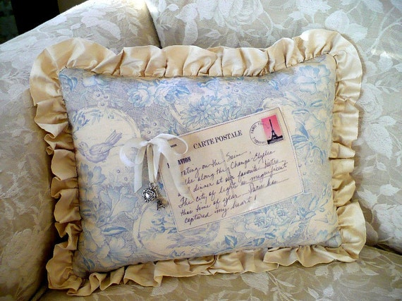 Pillow, French postcard, blue toile, birds, Paris, silk ruffle, SALE, Paris pillow, toile accent pillow