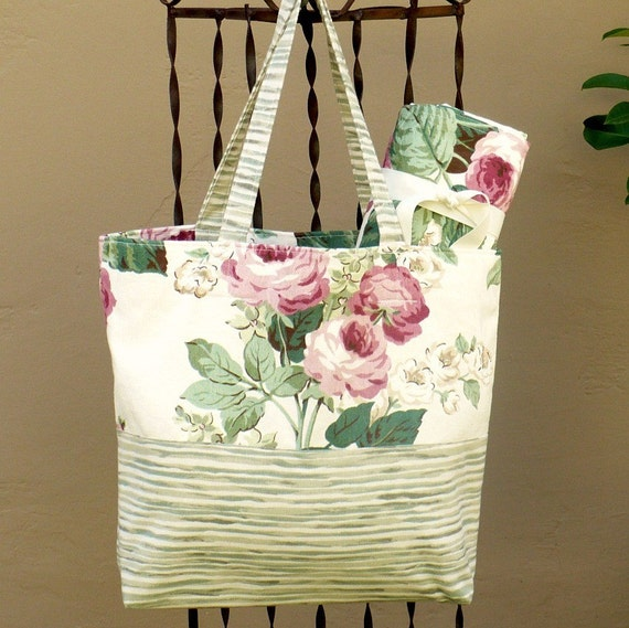 Tote bag, picnic blanket, Mother's Day, cottage style, roses, pink, green, cream, SALE