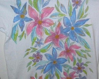 Hand Painted Flowers on a Long Sleeved White Women's T-shirt