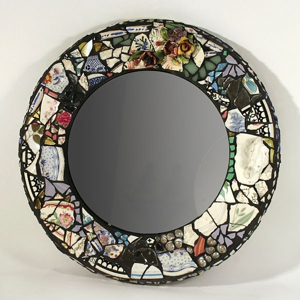 One of a kind round mosaic mirror for Mosaic mirror