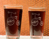 High Wheel Bicycle Pint Glass -discontinued sale