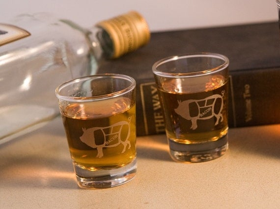 Bacon Etched shot glass - Last one in this glass style