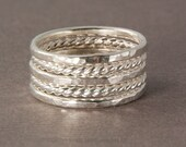 Silver stack rings set of five hammered and twisted slim stack rings 14 gauge custom made to order