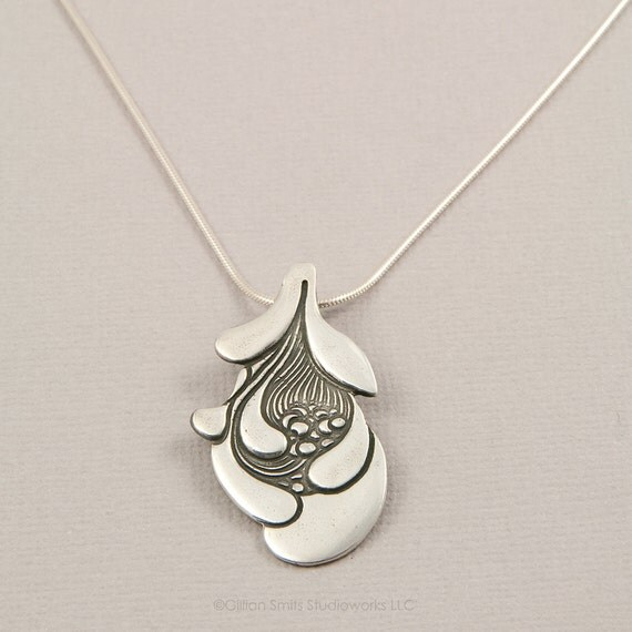 PMC sterling silver necklace with nature pendant, organic, birth, pregnancy, motherhood, seeds