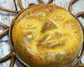 VINTAGE Rusty Metal Yellow Sun Sunshine Face with hanger wall decoration