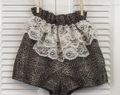 Bloomer Style Shorts Leopard and Lace Cotton Small