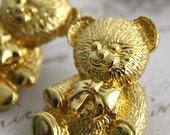Vintage Teddy Bear Earrings Gold 50% OFF SALE
