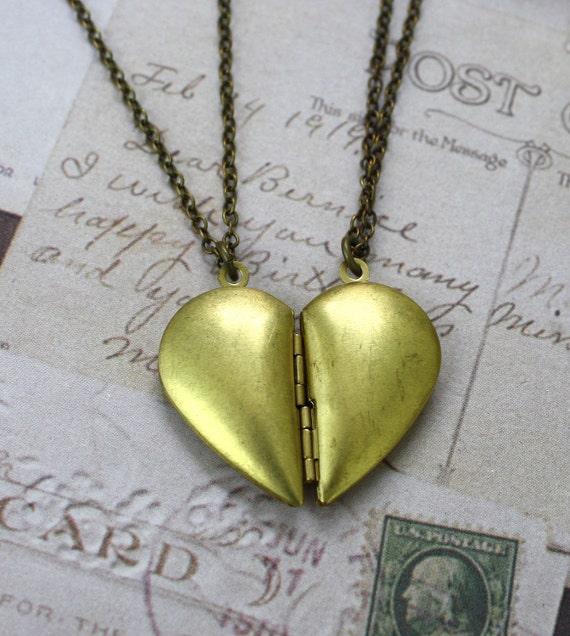 RESERVED for JannaRee LAST SET Brass Heart Lockets Friendship Necklace Set