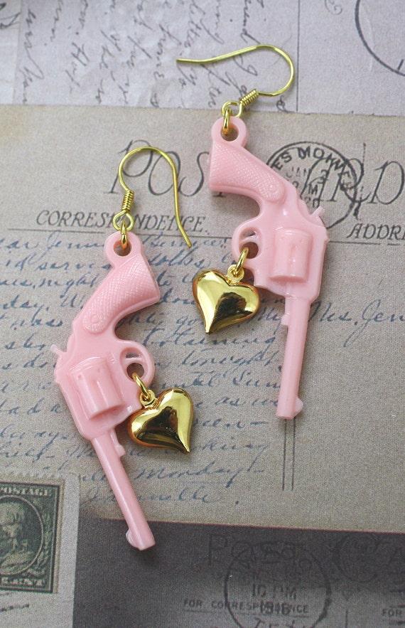 Pink Gun Revolver Pistol Earrings