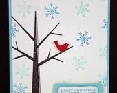 Handmade Christmas Card - Cardinal in Snowy Tree