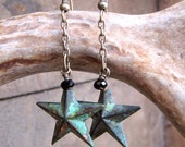 Patina Star Earrings Verdigris Earrings Brass Stars Long Star Earrings Star Jewelry Gifts for Her Green Star Earrings Brass Jewelry