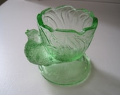 RESERVED FOR the QUIETHOUSE Vintage Green Glass Bird Egg Cup
