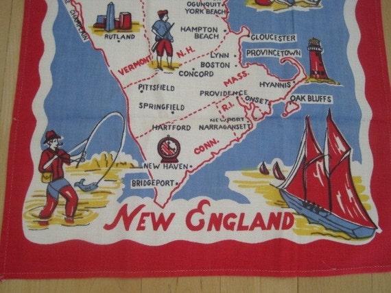 RESERVED/SOLD for JUDI Vintage Tea Towel New England Map Souvenir