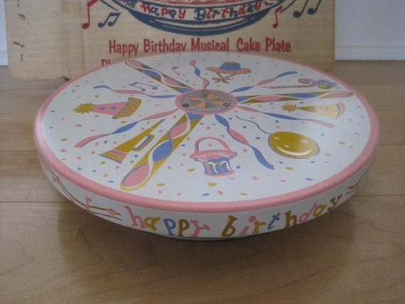 Vintage Revolving Musical Birthday Cake Stand