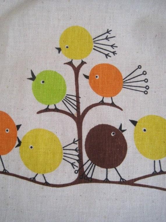 RARE Vintage Apron KIT Mod Birds COMPLETE