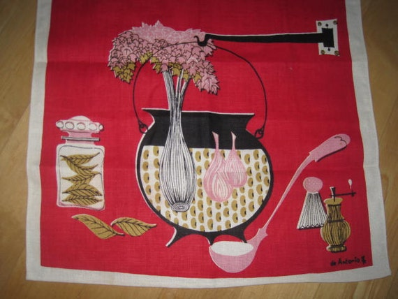 Vintage Mid Century Eames Towel SIGNED