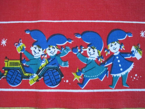 Vintage SWEDISH Tablecloth Christmas Elves
