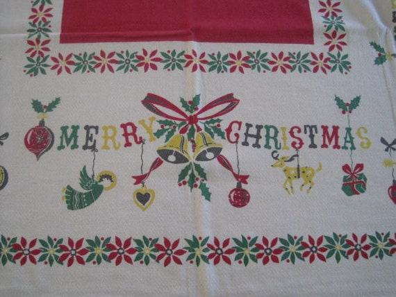 Vintage Christmas Tablecloth EAMES Era