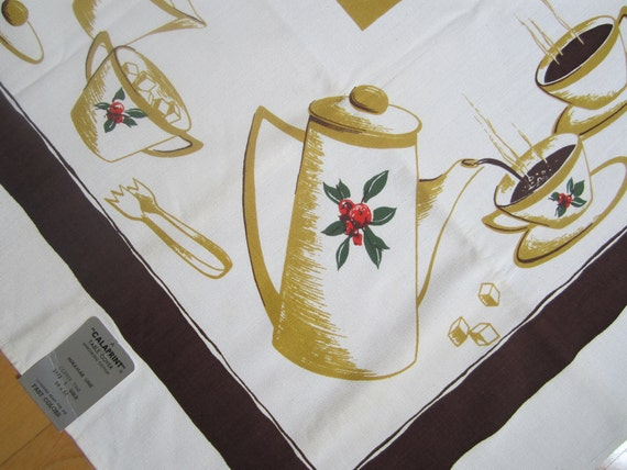 Vintage Coffee Tablecloth MINT Calaprint