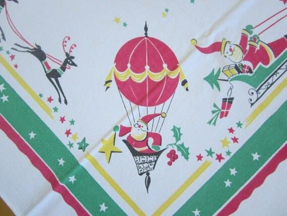 RARE Vintage Tablecloth Christmas Santa Claus