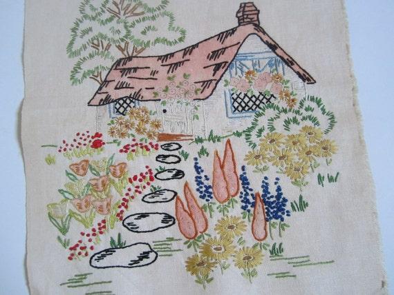 Vintage Cottage Embroidered Sampler