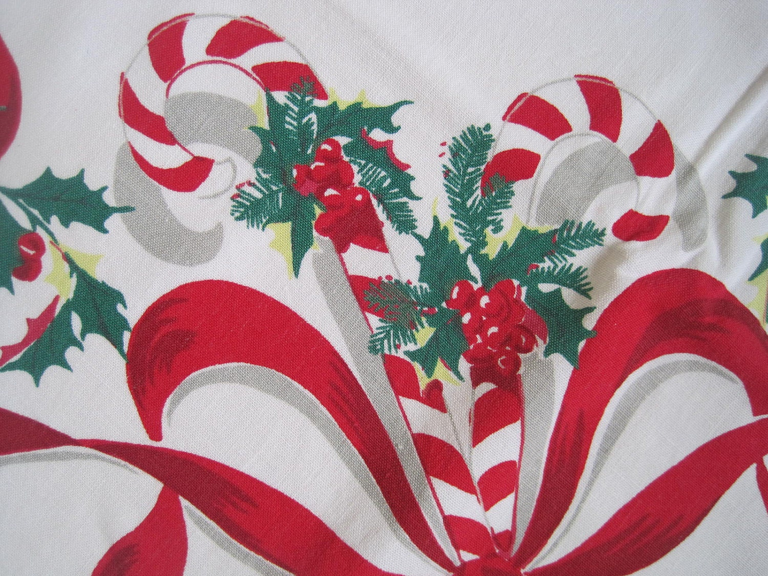 Large Vintage Christmas Tablecloth Candy Canes