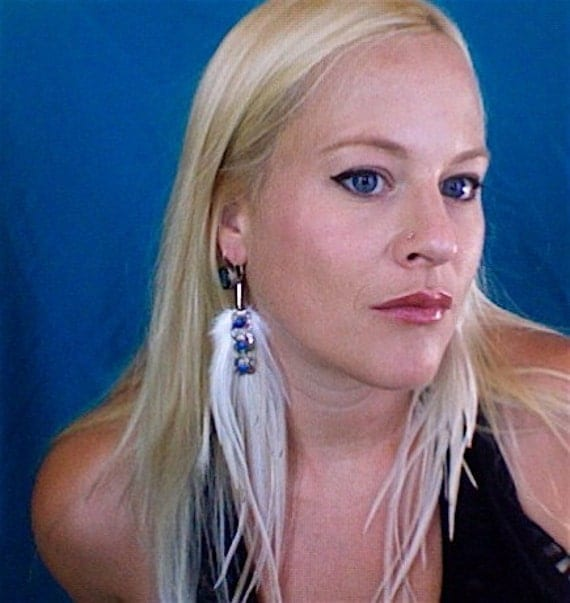 Creme feather earrings