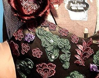 Long Black Satin with Applique Dress. Vintage. Ankle Length. Appliqued Burgundy and Green flowers, large Burgundy Flower