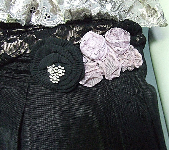 Black Womens Goth Skirt, Victorianna, Vintage lace, handmade pink mesh and lace flowers, vintage rhinestones, Upcycled