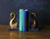 Swan Bookends Brass On Gray Marble Vintage from Nowvintage on Etsy