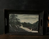 Oil Painting 40s Outsider Art Naïve Art Lake Landscape Vintage From Nowvintage on Etsy